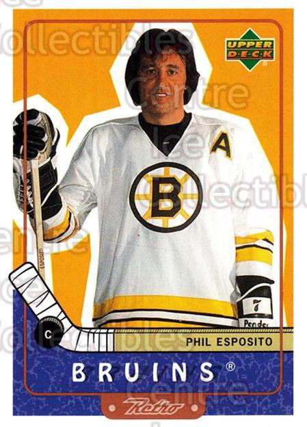 1999-00 Upper Deck Retro #94 Phil Esposito<br/>6 In Stock - $2.00 each - <a href=https://centericecollectibles.foxycart.com/cart?name=1999-00%20Upper%20Deck%20Retro%20%2394%20Phil%20Esposito...&quantity_max=6&price=$2.00&code=192921 class=foxycart> Buy it now! </a>