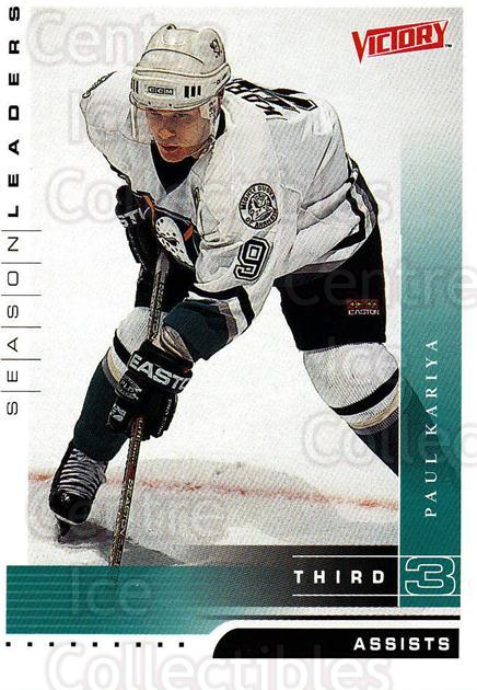 1999-00 UD Victory #333 Paul Kariya<br/>4 In Stock - $2.00 each - <a href=https://centericecollectibles.foxycart.com/cart?name=1999-00%20UD%20Victory%20%23333%20Paul%20Kariya...&quantity_max=4&price=$2.00&code=193224 class=foxycart> Buy it now! </a>