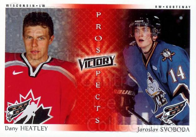 2000-01 UD Victory #279 Dany Heatley, Jaroslav Svoboda<br/>5 In Stock - $3.00 each - <a href=https://centericecollectibles.foxycart.com/cart?name=2000-01%20UD%20Victory%20%23279%20Dany%20Heatley,%20J...&quantity_max=5&price=$3.00&code=195313 class=foxycart> Buy it now! </a>