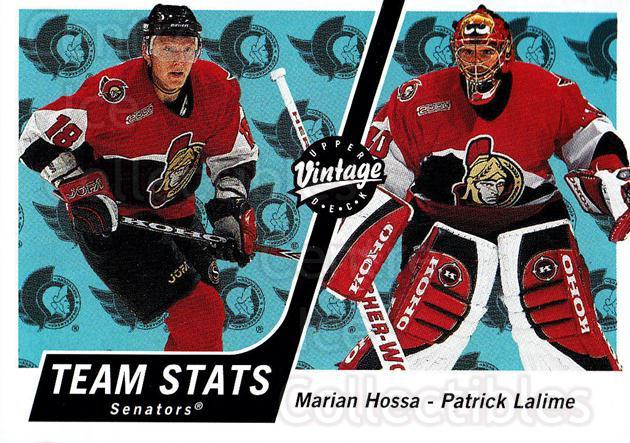 2000-01 UD Vintage #259 Marian Hossa, Patrick Lalime<br/>8 In Stock - $1.00 each - <a href=https://centericecollectibles.foxycart.com/cart?name=2000-01%20UD%20Vintage%20%23259%20Marian%20Hossa,%20P...&quantity_max=8&price=$1.00&code=195417 class=foxycart> Buy it now! </a>