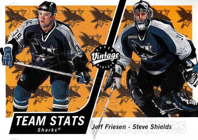 2000-01 UD Vintage #308 Jeff Friesen, Steve Shields<br/>5 In Stock - $1.00 each - <a href=https://centericecollectibles.foxycart.com/cart?name=2000-01%20UD%20Vintage%20%23308%20Jeff%20Friesen,%20S...&quantity_max=5&price=$1.00&code=195468 class=foxycart> Buy it now! </a>