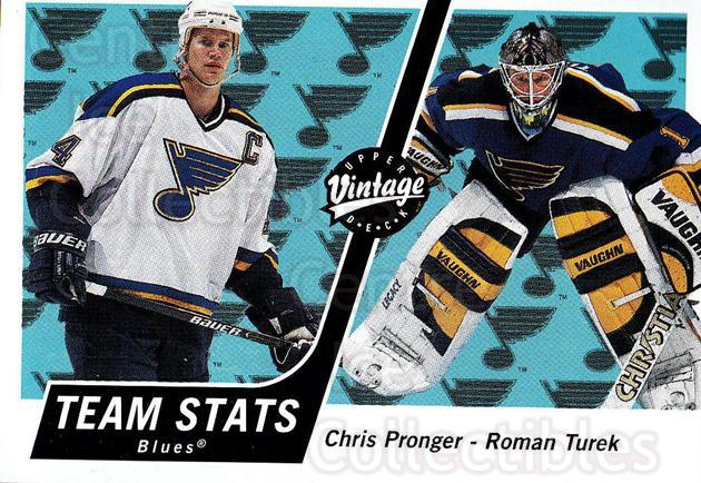 2000-01 UD Vintage #321 Chris Pronger, Roman Turek<br/>11 In Stock - $1.00 each - <a href=https://centericecollectibles.foxycart.com/cart?name=2000-01%20UD%20Vintage%20%23321%20Chris%20Pronger,%20...&quantity_max=11&price=$1.00&code=195484 class=foxycart> Buy it now! </a>