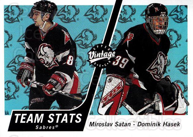 2000-01 UD Vintage #50 Miroslav Satan, Dominik Hasek<br/>4 In Stock - $1.00 each - <a href=https://centericecollectibles.foxycart.com/cart?name=2000-01%20UD%20Vintage%20%2350%20Miroslav%20Satan,...&quantity_max=4&price=$1.00&code=195567 class=foxycart> Buy it now! </a>