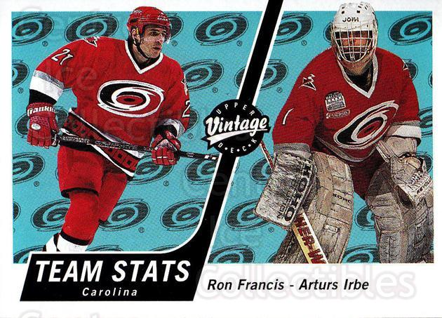 2000-01 UD Vintage #74 Ron Francis, Arturs Irbe<br/>6 In Stock - $1.00 each - <a href=https://centericecollectibles.foxycart.com/cart?name=2000-01%20UD%20Vintage%20%2374%20Ron%20Francis,%20Ar...&quantity_max=6&price=$1.00&code=195591 class=foxycart> Buy it now! </a>