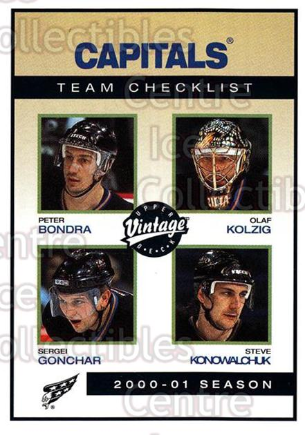 2001-02 UD Vintage #260 Peter Bondra, Sergei Gonchar, Olaf Kolzig, Steve Konowalchuk, Checklist<br/>3 In Stock - $1.00 each - <a href=https://centericecollectibles.foxycart.com/cart?name=2001-02%20UD%20Vintage%20%23260%20Peter%20Bondra,%20S...&quantity_max=3&price=$1.00&code=197294 class=foxycart> Buy it now! </a>