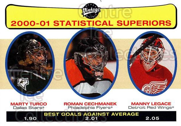 2001-02 UD Vintage #268 Marty Turco, Roman Cechmanek, Manny Legace<br/>2 In Stock - $1.00 each - <a href=https://centericecollectibles.foxycart.com/cart?name=2001-02%20UD%20Vintage%20%23268%20Marty%20Turco,%20Ro...&quantity_max=2&price=$1.00&code=197299 class=foxycart> Buy it now! </a>