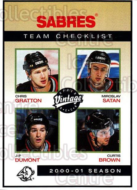 2001-02 UD Vintage #35 Chris Gratton, JP Dumont, Miroslav Satan, Curtis Brown, Checklist<br/>5 In Stock - $1.00 each - <a href=https://centericecollectibles.foxycart.com/cart?name=2001-02%20UD%20Vintage%20%2335%20Chris%20Gratton,%20...&quantity_max=5&price=$1.00&code=197333 class=foxycart> Buy it now! </a>