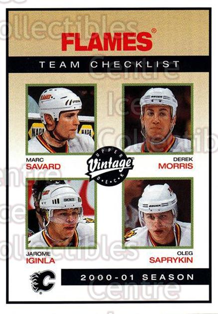 2001-02 UD Vintage #43 Marc Savard, Jarome Iginla, Derek Morris, Oleg Saprykin, Checklist<br/>7 In Stock - $1.00 each - <a href=https://centericecollectibles.foxycart.com/cart?name=2001-02%20UD%20Vintage%20%2343%20Marc%20Savard,%20Ja...&quantity_max=7&price=$1.00&code=197342 class=foxycart> Buy it now! </a>