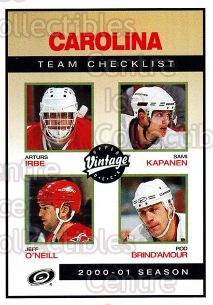 2001-02 UD Vintage #52 Arturs Irbe, Jeff O'Neill, Sami Kapanen, Rod Brind'Amour, Checklist<br/>2 In Stock - $1.00 each - <a href=https://centericecollectibles.foxycart.com/cart?name=2001-02%20UD%20Vintage%20%2352%20Arturs%20Irbe,%20Je...&quantity_max=2&price=$1.00&code=197352 class=foxycart> Buy it now! </a>