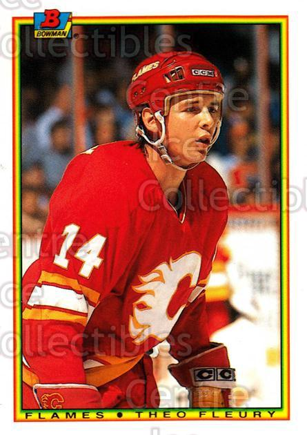 1990-91 Bowman Tiffany #102 Theo Fleury<br/>9 In Stock - $2.00 each - <a href=https://centericecollectibles.foxycart.com/cart?name=1990-91%20Bowman%20Tiffany%20%23102%20Theo%20Fleury...&quantity_max=9&price=$2.00&code=19773 class=foxycart> Buy it now! </a>
