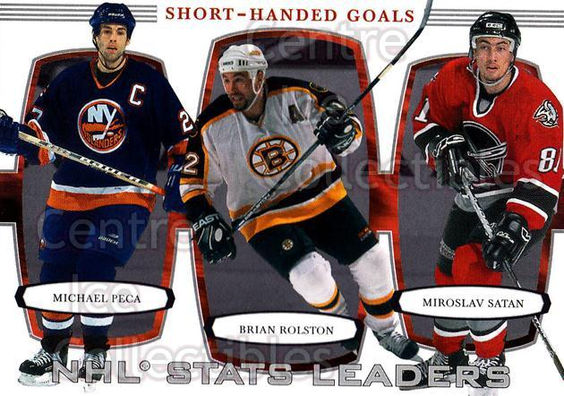 2002-03 BAP First Edition #379 Mike Peca, Miroslav Satan, Dwayne Rolston<br/>3 In Stock - $2.00 each - <a href=https://centericecollectibles.foxycart.com/cart?name=2002-03%20BAP%20First%20Edition%20%23379%20Mike%20Peca,%20Miro...&quantity_max=3&price=$2.00&code=197859 class=foxycart> Buy it now! </a>