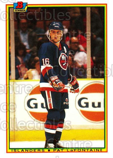 1990-91 Bowman Tiffany #123 Pat LaFontaine<br/>9 In Stock - $2.00 each - <a href=https://centericecollectibles.foxycart.com/cart?name=1990-91%20Bowman%20Tiffany%20%23123%20Pat%20LaFontaine...&quantity_max=9&price=$2.00&code=19796 class=foxycart> Buy it now! </a>