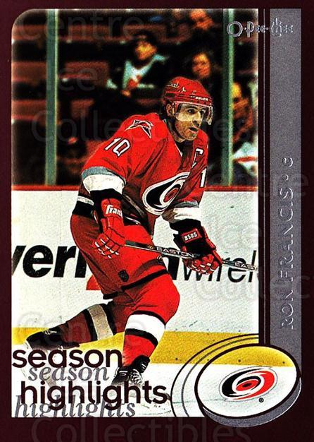 2002-03 O-Pee-Chee #315 Ron Francis<br/>5 In Stock - $1.00 each - <a href=https://centericecollectibles.foxycart.com/cart?name=2002-03%20O-Pee-Chee%20%23315%20Ron%20Francis...&quantity_max=5&price=$1.00&code=198026 class=foxycart> Buy it now! </a>