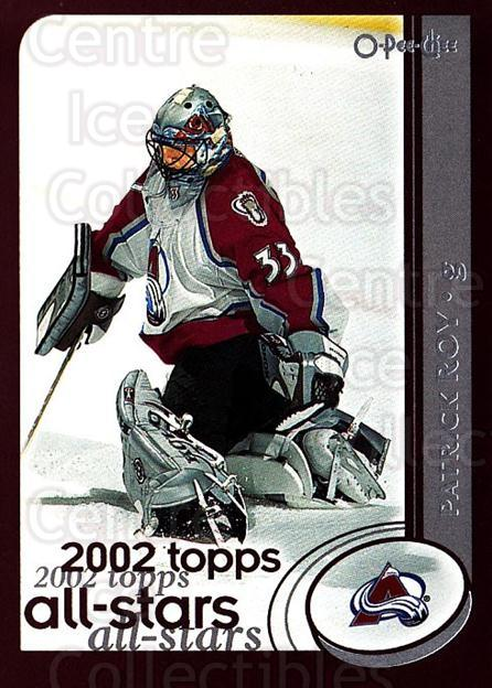 2002-03 O-Pee-Chee #320 Patrick Roy<br/>4 In Stock - $2.00 each - <a href=https://centericecollectibles.foxycart.com/cart?name=2002-03%20O-Pee-Chee%20%23320%20Patrick%20Roy...&quantity_max=4&price=$2.00&code=198032 class=foxycart> Buy it now! </a>