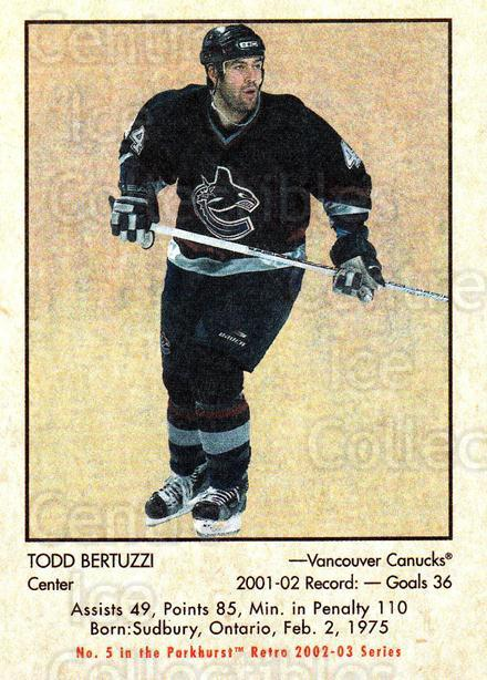 2002-03 Parkhurst Retro #5 Todd Bertuzzi<br/>7 In Stock - $1.00 each - <a href=https://centericecollectibles.foxycart.com/cart?name=2002-03%20Parkhurst%20Retro%20%235%20Todd%20Bertuzzi...&quantity_max=7&price=$1.00&code=199114 class=foxycart> Buy it now! </a>