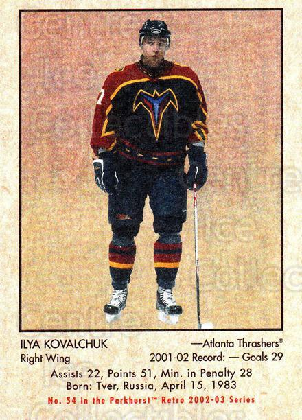 2002-03 Parkhurst Retro #54 Ilya Kovalchuk<br/>3 In Stock - $1.00 each - <a href=https://centericecollectibles.foxycart.com/cart?name=2002-03%20Parkhurst%20Retro%20%2354%20Ilya%20Kovalchuk...&quantity_max=3&price=$1.00&code=199119 class=foxycart> Buy it now! </a>