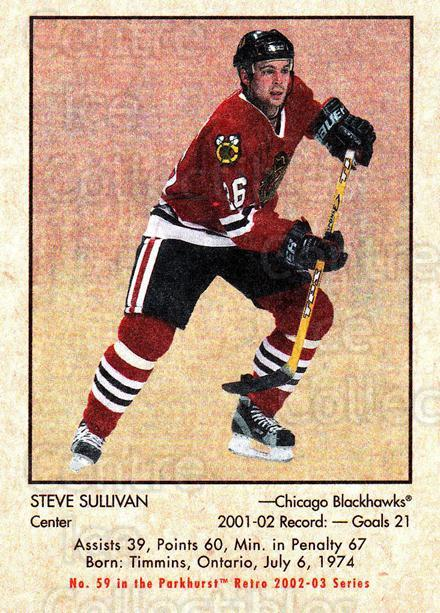 2002-03 Parkhurst Retro #59 Steve Sullivan<br/>5 In Stock - $1.00 each - <a href=https://centericecollectibles.foxycart.com/cart?name=2002-03%20Parkhurst%20Retro%20%2359%20Steve%20Sullivan...&quantity_max=5&price=$1.00&code=199124 class=foxycart> Buy it now! </a>