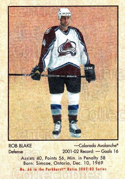 2002-03 Parkhurst Retro #66 Rob Blake<br/>3 In Stock - $1.00 each - <a href=https://centericecollectibles.foxycart.com/cart?name=2002-03%20Parkhurst%20Retro%20%2366%20Rob%20Blake...&quantity_max=3&price=$1.00&code=199132 class=foxycart> Buy it now! </a>