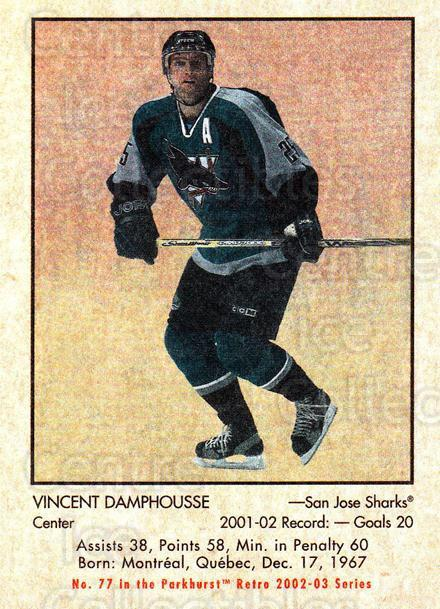 2002-03 Parkhurst Retro #77 Vincent Damphousse<br/>5 In Stock - $1.00 each - <a href=https://centericecollectibles.foxycart.com/cart?name=2002-03%20Parkhurst%20Retro%20%2377%20Vincent%20Damphou...&quantity_max=5&price=$1.00&code=199142 class=foxycart> Buy it now! </a>