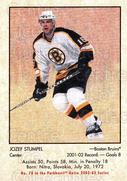 2002-03 Parkhurst Retro #78 Jozef Stumpel<br/>4 In Stock - $1.00 each - <a href=https://centericecollectibles.foxycart.com/cart?name=2002-03%20Parkhurst%20Retro%20%2378%20Jozef%20Stumpel...&quantity_max=4&price=$1.00&code=199143 class=foxycart> Buy it now! </a>