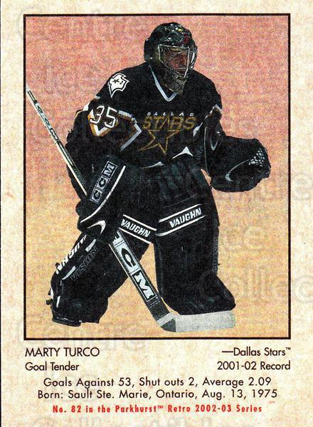 2002-03 Parkhurst Retro #82 Marty Turco<br/>5 In Stock - $1.00 each - <a href=https://centericecollectibles.foxycart.com/cart?name=2002-03%20Parkhurst%20Retro%20%2382%20Marty%20Turco...&quantity_max=5&price=$1.00&code=199148 class=foxycart> Buy it now! </a>