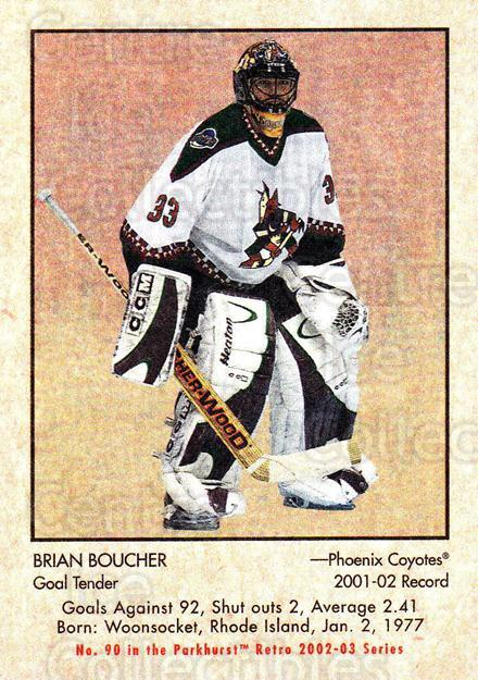 2002-03 Parkhurst Retro #90 Brian Boucher<br/>5 In Stock - $1.00 each - <a href=https://centericecollectibles.foxycart.com/cart?name=2002-03%20Parkhurst%20Retro%20%2390%20Brian%20Boucher...&quantity_max=5&price=$1.00&code=199157 class=foxycart> Buy it now! </a>