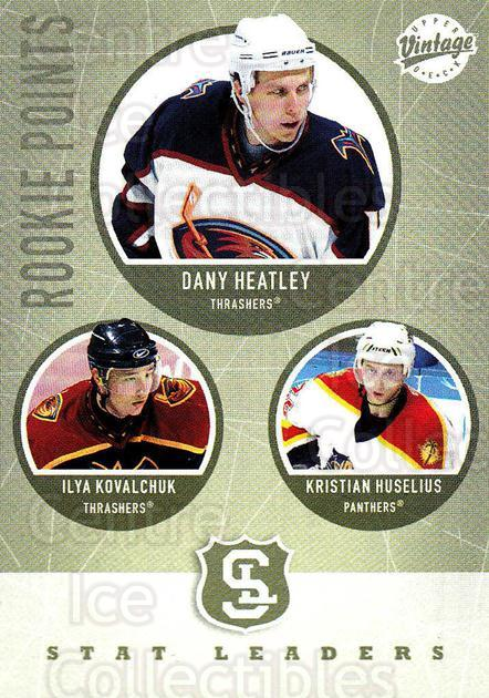 2002-03 UD Vintage #315 Dany Heatley, Ilya Kovalchuk, Kristian Huselius<br/>9 In Stock - $2.00 each - <a href=https://centericecollectibles.foxycart.com/cart?name=2002-03%20UD%20Vintage%20%23315%20Dany%20Heatley,%20I...&quantity_max=9&price=$2.00&code=199928 class=foxycart> Buy it now! </a>