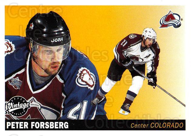 2002-03 UD Vintage #64 Peter Forsberg<br/>5 In Stock - $2.00 each - <a href=https://centericecollectibles.foxycart.com/cart?name=2002-03%20UD%20Vintage%20%2364%20Peter%20Forsberg...&quantity_max=5&price=$2.00&code=199995 class=foxycart> Buy it now! </a>