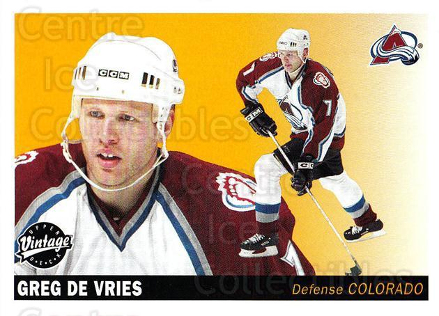 2002-03 UD Vintage #68 Greg de Vries<br/>8 In Stock - $1.00 each - <a href=https://centericecollectibles.foxycart.com/cart?name=2002-03%20UD%20Vintage%20%2368%20Greg%20de%20Vries...&quantity_max=8&price=$1.00&code=199997 class=foxycart> Buy it now! </a>