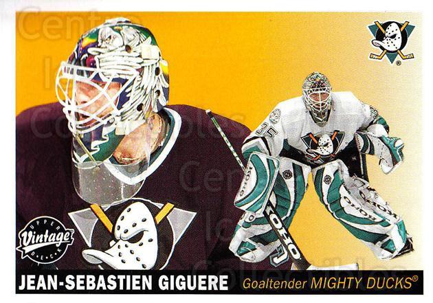 2002-03 UD Vintage #7 Jean-Sebastien Giguere<br/>7 In Stock - $1.00 each - <a href=https://centericecollectibles.foxycart.com/cart?name=2002-03%20UD%20Vintage%20%237%20Jean-Sebastien%20...&quantity_max=7&price=$1.00&code=199999 class=foxycart> Buy it now! </a>