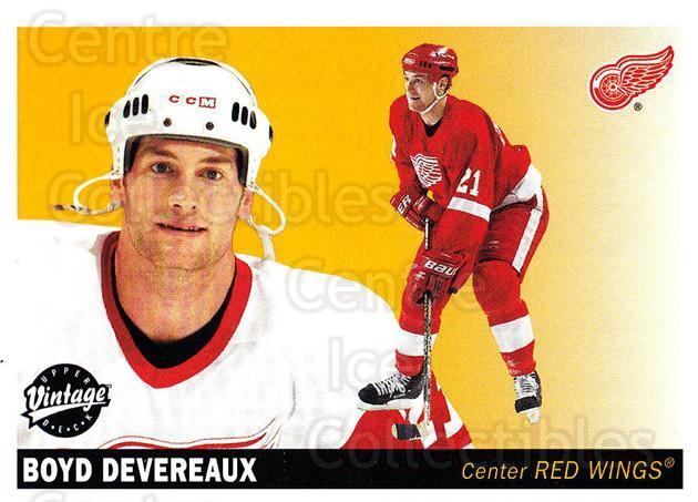 2002-03 UD Vintage #98 Boyd Devereaux<br/>6 In Stock - $1.00 each - <a href=https://centericecollectibles.foxycart.com/cart?name=2002-03%20UD%20Vintage%20%2398%20Boyd%20Devereaux...&quantity_max=6&price=$1.00&code=200027 class=foxycart> Buy it now! </a>