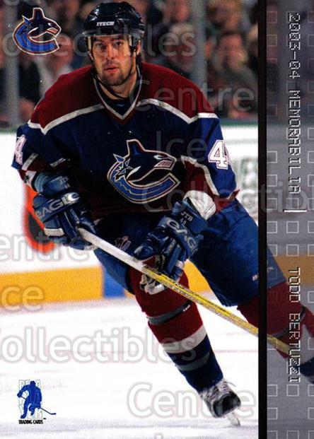 2003-04 BAP Memorabilia #94 Todd Bertuzzi<br/>8 In Stock - $1.00 each - <a href=https://centericecollectibles.foxycart.com/cart?name=2003-04%20BAP%20Memorabilia%20%2394%20Todd%20Bertuzzi...&quantity_max=8&price=$1.00&code=200472 class=foxycart> Buy it now! </a>