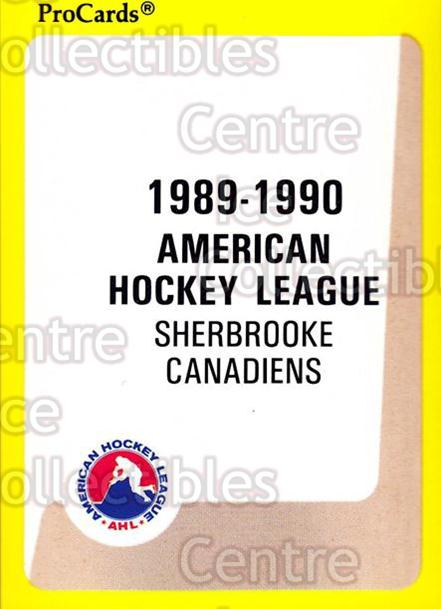 1989-90 ProCards AHL #179 Sherbrooke Canadiens, Checklist<br/>4 In Stock - $2.00 each - <a href=https://centericecollectibles.foxycart.com/cart?name=1989-90%20ProCards%20AHL%20%23179%20Sherbrooke%20Cana...&price=$2.00&code=20141 class=foxycart> Buy it now! </a>