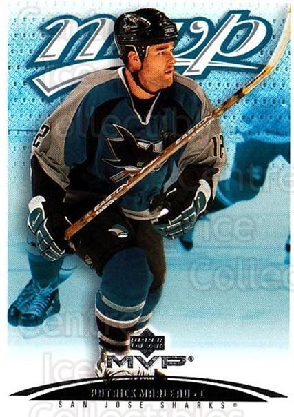 2003-04 Upper Deck MVP #345 Patrick Marleau<br/>3 In Stock - $1.00 each - <a href=https://centericecollectibles.foxycart.com/cart?name=2003-04%20Upper%20Deck%20MVP%20%23345%20Patrick%20Marleau...&quantity_max=3&price=$1.00&code=202252 class=foxycart> Buy it now! </a>