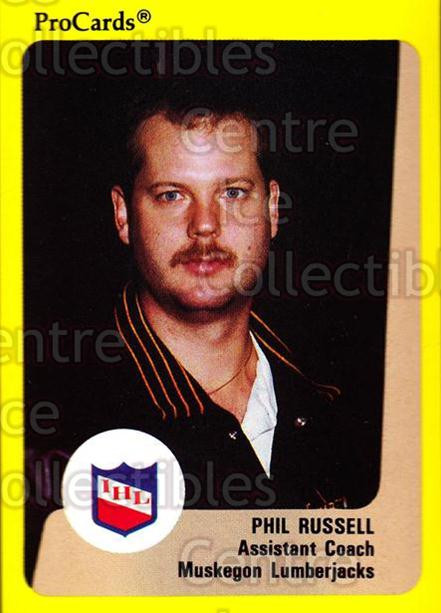 1989-90 ProCards IHL #163 Phil Russell<br/>8 In Stock - $2.00 each - <a href=https://centericecollectibles.foxycart.com/cart?name=1989-90%20ProCards%20IHL%20%23163%20Phil%20Russell...&quantity_max=8&price=$2.00&code=20271 class=foxycart> Buy it now! </a>