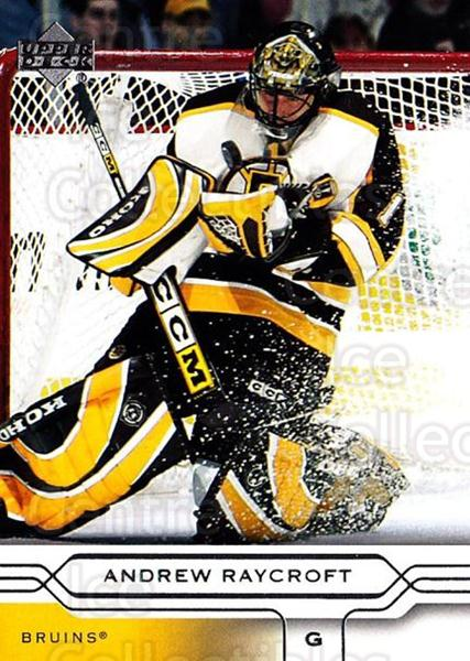 2004-05 Upper Deck #18 Andrew Raycroft<br/>5 In Stock - $1.00 each - <a href=https://centericecollectibles.foxycart.com/cart?name=2004-05%20Upper%20Deck%20%2318%20Andrew%20Raycroft...&quantity_max=5&price=$1.00&code=202766 class=foxycart> Buy it now! </a>