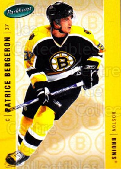 2005-06 Parkhurst #34 Patrice Bergeron<br/>5 In Stock - $2.00 each - <a href=https://centericecollectibles.foxycart.com/cart?name=2005-06%20Parkhurst%20%2334%20Patrice%20Bergero...&quantity_max=5&price=$2.00&code=202972 class=foxycart> Buy it now! </a>