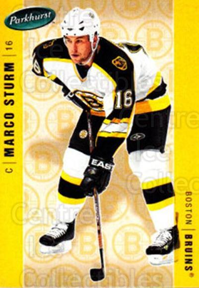 2005-06 Parkhurst #38 Marco Sturm<br/>7 In Stock - $1.00 each - <a href=https://centericecollectibles.foxycart.com/cart?name=2005-06%20Parkhurst%20%2338%20Marco%20Sturm...&quantity_max=7&price=$1.00&code=203016 class=foxycart> Buy it now! </a>