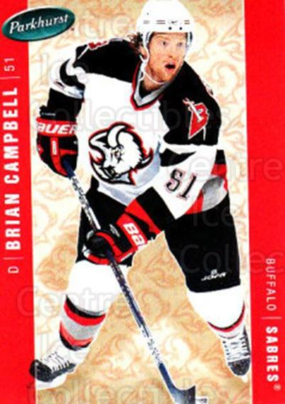 2005-06 Parkhurst #55 Brian Campbell<br/>6 In Stock - $1.00 each - <a href=https://centericecollectibles.foxycart.com/cart?name=2005-06%20Parkhurst%20%2355%20Brian%20Campbell...&quantity_max=6&price=$1.00&code=203198 class=foxycart> Buy it now! </a>