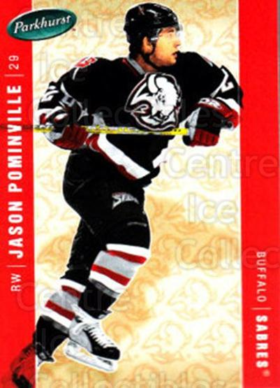 2005-06 Parkhurst #63 Jason Pominville<br/>4 In Stock - $1.00 each - <a href=https://centericecollectibles.foxycart.com/cart?name=2005-06%20Parkhurst%20%2363%20Jason%20Pominvill...&quantity_max=4&price=$1.00&code=203272 class=foxycart> Buy it now! </a>