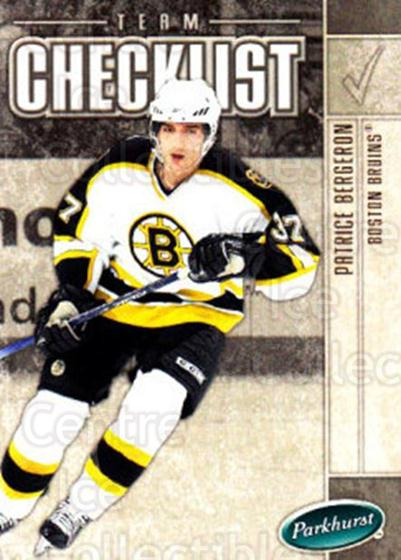 2005-06 Parkhurst #673 Patrice Bergeron, Checklist<br/>6 In Stock - $2.00 each - <a href=https://centericecollectibles.foxycart.com/cart?name=2005-06%20Parkhurst%20%23673%20Patrice%20Bergero...&quantity_max=6&price=$2.00&code=203308 class=foxycart> Buy it now! </a>