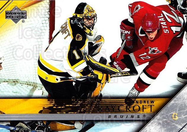2005-06 Upper Deck #15 Andrew Raycroft<br/>4 In Stock - $1.00 each - <a href=https://centericecollectibles.foxycart.com/cart?name=2005-06%20Upper%20Deck%20%2315%20Andrew%20Raycroft...&quantity_max=4&price=$1.00&code=203935 class=foxycart> Buy it now! </a>