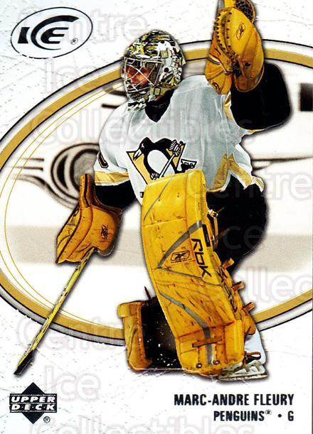 2005-06 UD Ice #79 Marc-Andre Fleury<br/>2 In Stock - $2.00 each - <a href=https://centericecollectibles.foxycart.com/cart?name=2005-06%20UD%20Ice%20%2379%20Marc-Andre%20Fleu...&quantity_max=2&price=$2.00&code=204277 class=foxycart> Buy it now! </a>