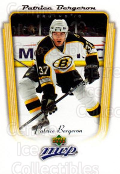 2005-06 Upper Deck MVP #30 Patrice Bergeron<br/>4 In Stock - $2.00 each - <a href=https://centericecollectibles.foxycart.com/cart?name=2005-06%20Upper%20Deck%20MVP%20%2330%20Patrice%20Bergero...&quantity_max=4&price=$2.00&code=204366 class=foxycart> Buy it now! </a>