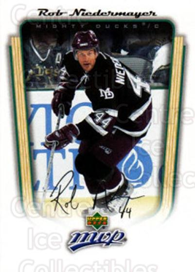 2005-06 Upper Deck MVP #4 Rob Niedermayer<br/>4 In Stock - $1.00 each - <a href=https://centericecollectibles.foxycart.com/cart?name=2005-06%20Upper%20Deck%20MVP%20%234%20Rob%20Niedermayer...&quantity_max=4&price=$1.00&code=204477 class=foxycart> Buy it now! </a>