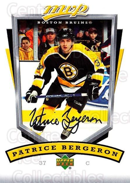 2006-07 Upper Deck MVP #25 Patrice Bergeron<br/>4 In Stock - $2.00 each - <a href=https://centericecollectibles.foxycart.com/cart?name=2006-07%20Upper%20Deck%20MVP%20%2325%20Patrice%20Bergero...&quantity_max=4&price=$2.00&code=204935 class=foxycart> Buy it now! </a>