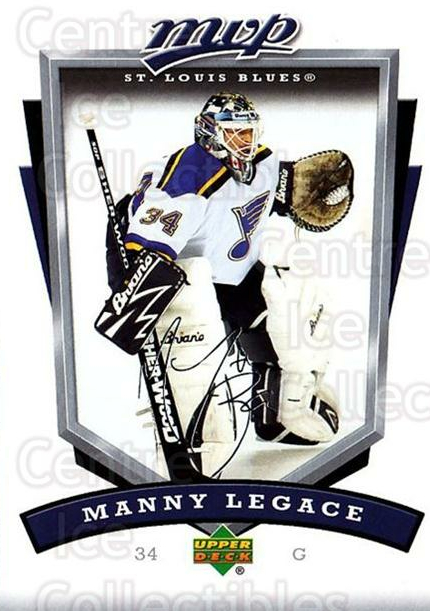 2006-07 Upper Deck MVP #251 Manny Legace<br/>5 In Stock - $1.00 each - <a href=https://centericecollectibles.foxycart.com/cart?name=2006-07%20Upper%20Deck%20MVP%20%23251%20Manny%20Legace...&quantity_max=5&price=$1.00&code=204937 class=foxycart> Buy it now! </a>