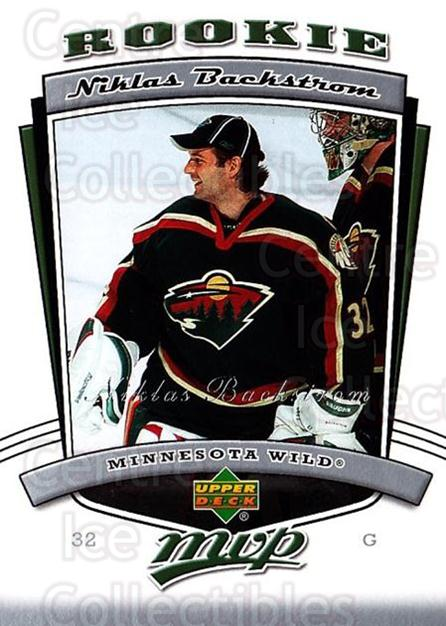 2006-07 Upper Deck MVP #318 Niklas Backstrom<br/>2 In Stock - $3.00 each - <a href=https://centericecollectibles.foxycart.com/cart?name=2006-07%20Upper%20Deck%20MVP%20%23318%20Niklas%20Backstro...&quantity_max=2&price=$3.00&code=205000 class=foxycart> Buy it now! </a>