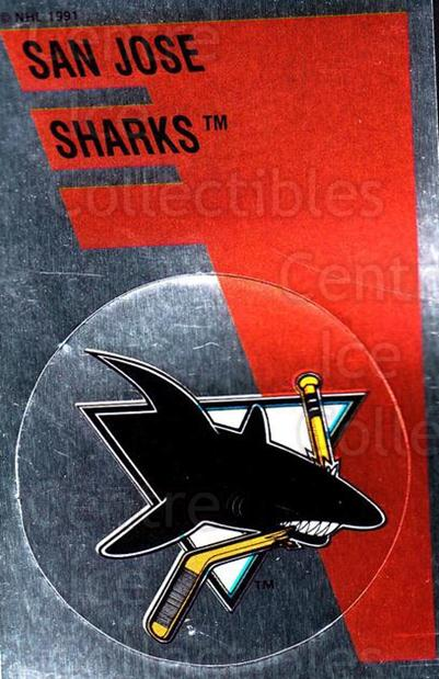 1991-92 Panini Stickers #156 San Jose Sharks<br/>7 In Stock - $1.00 each - <a href=https://centericecollectibles.foxycart.com/cart?name=1991-92%20Panini%20Stickers%20%23156%20San%20Jose%20Sharks...&quantity_max=7&price=$1.00&code=205690 class=foxycart> Buy it now! </a>
