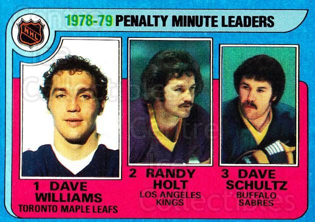 1979-80 Topps #4 Dave Williams, Randy Holt, Dave Schultz<br/>1 In Stock - $2.00 each - <a href=https://centericecollectibles.foxycart.com/cart?name=1979-80%20Topps%20%234%20Dave%20Williams,%20...&quantity_max=1&price=$2.00&code=205785 class=foxycart> Buy it now! </a>